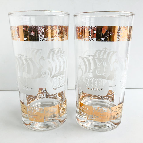 Gold Mid-Century Tumblers #66 - Set of 2