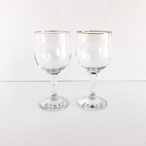 Gold Rimmed Wine Glasses #24 - Set of 2