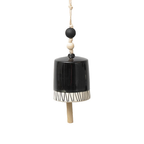 Black + White Hanging Bell | Medium