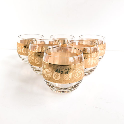Gold Mid-Century Lowballs #29 - Set of 6