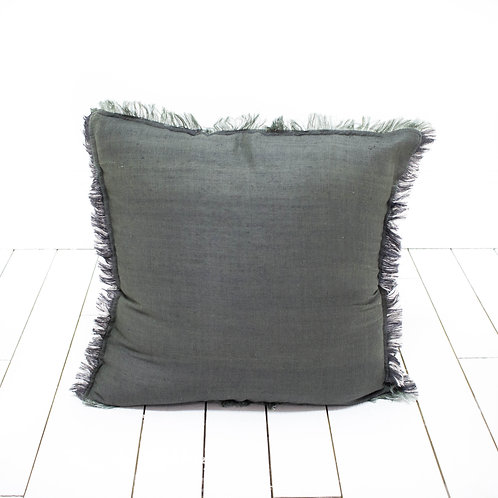 Charcoal Fringed Pillow