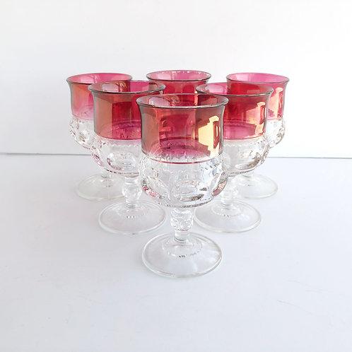 Vintage Cranberry Goblets #10 - Set of 6