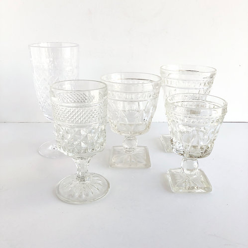 Assorted Clear Goblets - Set of 5