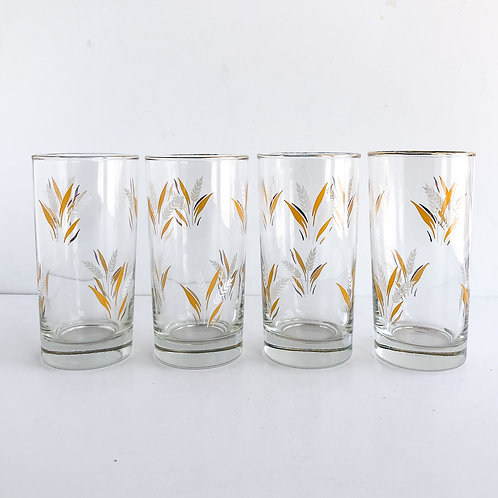 Set of 4 - Gold Mid-Century Tumblers #42