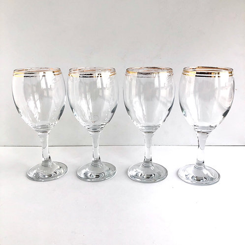 Gold Rimmed Wine Glasses #18 - Set of 4