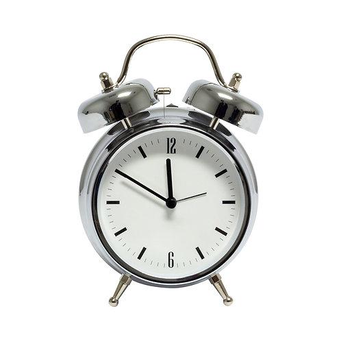 Silver & White Alarm Clock