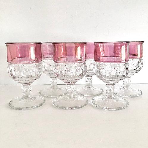 Vintage Cranberry Goblets #3 - Set of 6