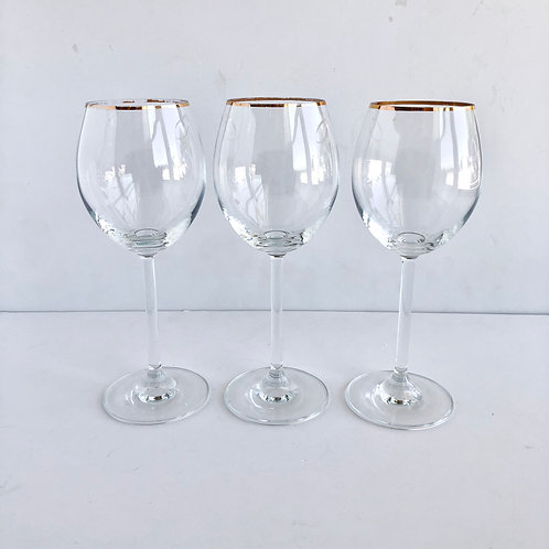 Gold Rimmed Wine Glasses #10 - Set of 3