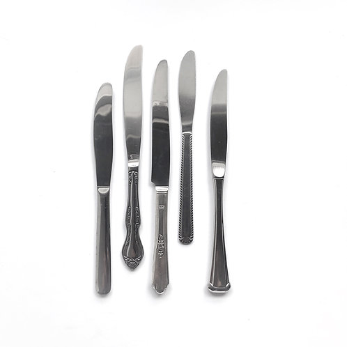 Assorted Silver Dinner Knives - Set of 5