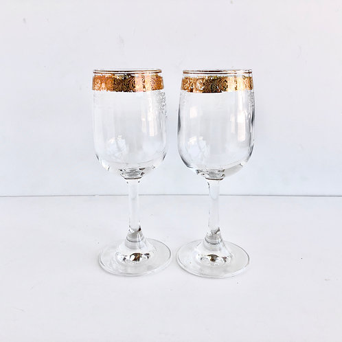 Gold Rimmed Wine Glasses #20 - Set of 2