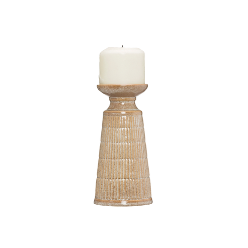 Beige Tall Stoneware Candle Holder