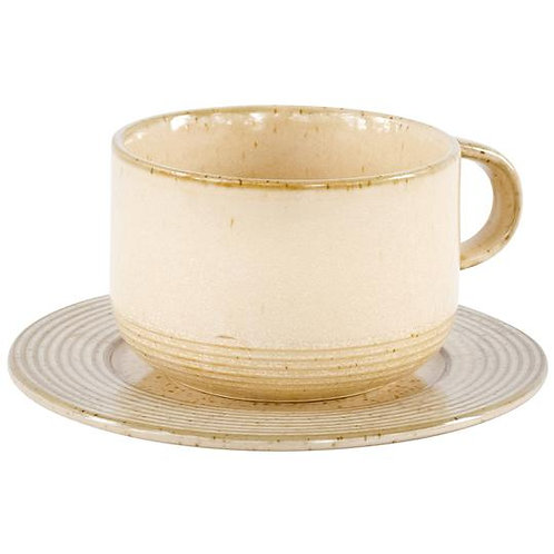 Speckled Stoneware Cup & Saucer Sets - 4 Pieces