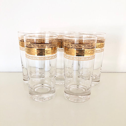 Set of 5 - Gold Mid-Century Tumblers #19