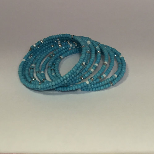 Turquoise,White & Clear Bracelet