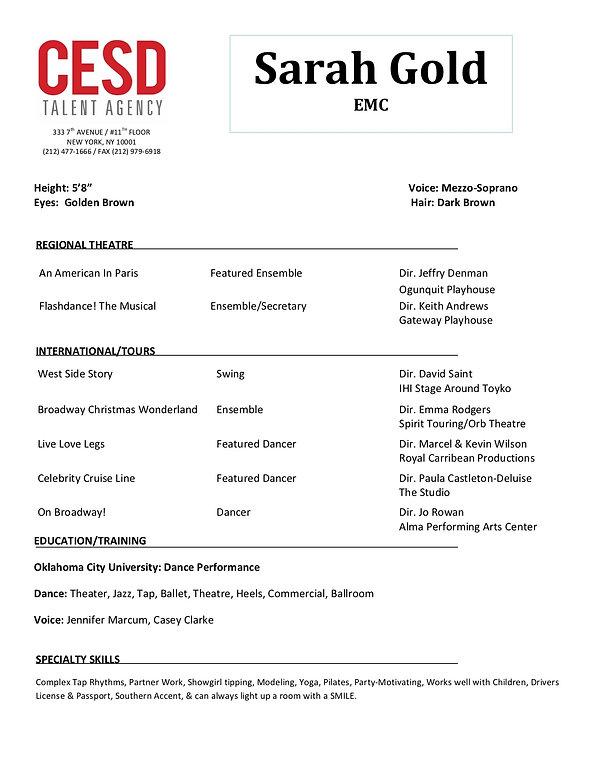 SARAH - CESD Resume Template Theater cop