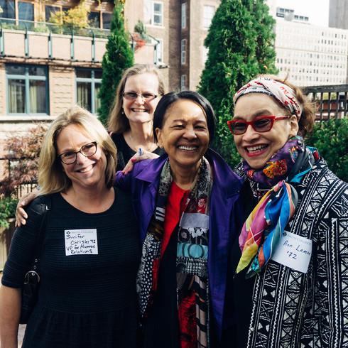 (Left to right)Jennifer Chrisler '92, VP for Alumnae Relations, Katharine Swibold '82, Host Sylvia Lewis '74 and Ann Lemon '72