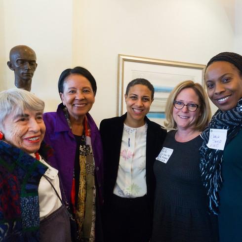 (l-r) Ruth Turner '46, Sylvia Lewis '74, Elizabeth Pryor, Jennifer Chrisler '92, and Carla Shedd '00.
