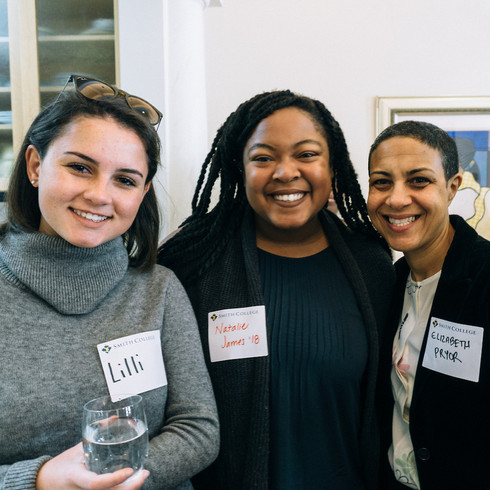 Elizabeth Stordeur Pryor, Associate Professor of History at Smith College and her daughter, Lilli with the BSA President Natalie James '18.