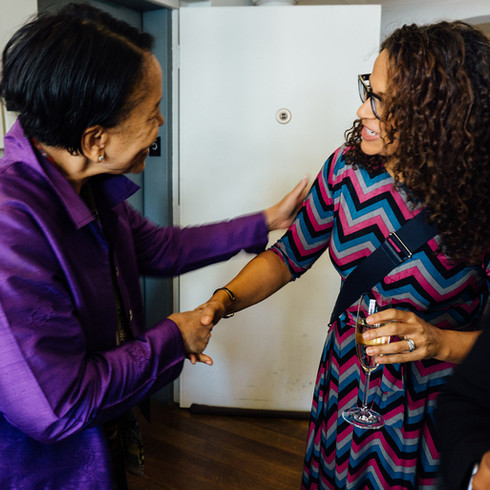 Host Sylvia Lewis '74 greeting special guest, Alison Stewart, Co-Anchor, PBS.