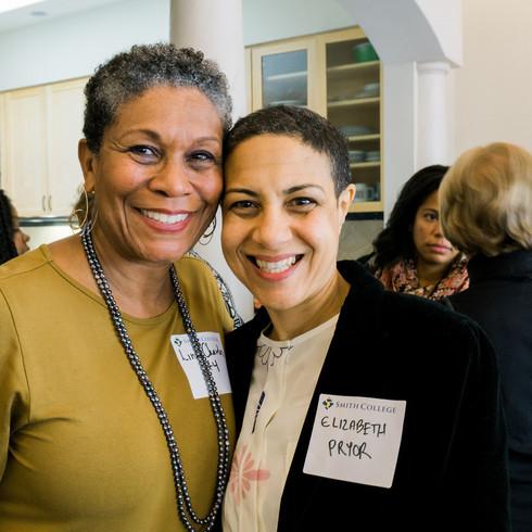 Co-host Linda Charles '74 and keynote speaker Elizabeth Pryor