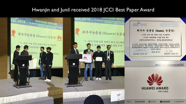 Hwanjin and Junil received 2018 JCCI Best Paper Award.
