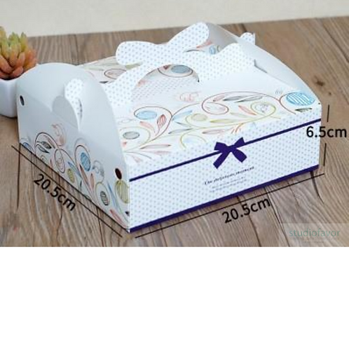 Japanese Style Floral Cake Box with Handle