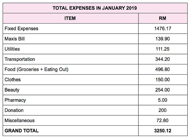 Monthly Expenses Breakdown: January 2019
