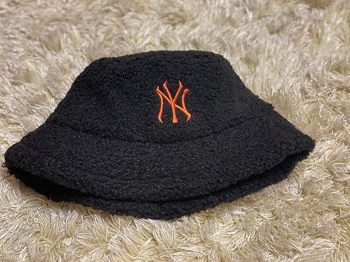 Black Fuzzy NY Bucket Hat