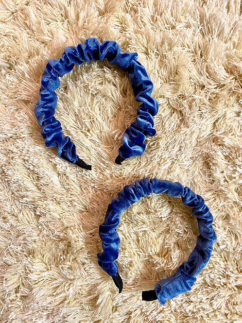 Blue Velvet Scrunch Headband