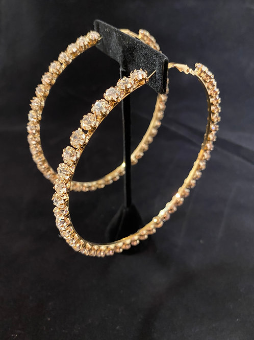 Gold Big Bling Hoops