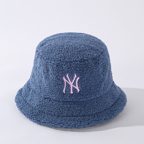 Blue Fuzzy NY Bucket Hat