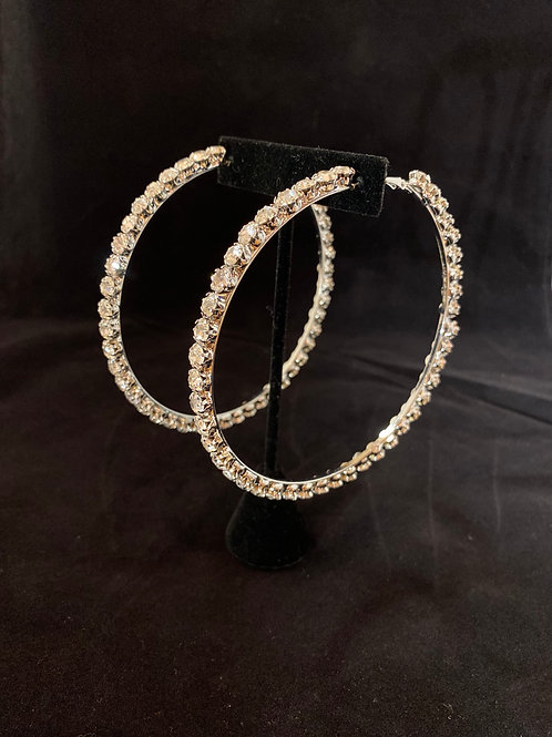 Silver Big Bling Hoops