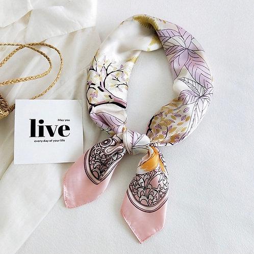 Cherry Blossom Satin Fashion Scarf