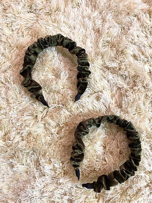 Olive Velvet Scrunch Headband