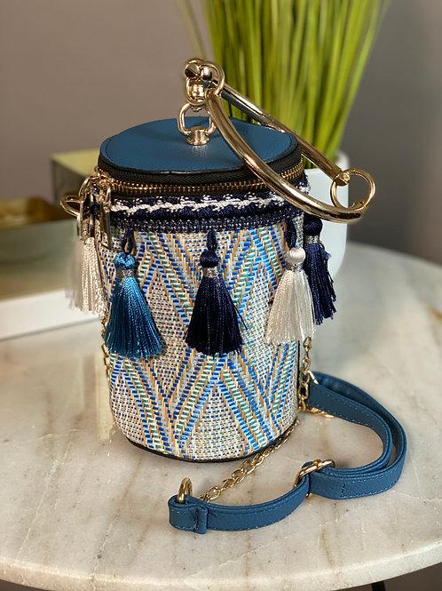 Fringe the Bucket Handbag (Blue)