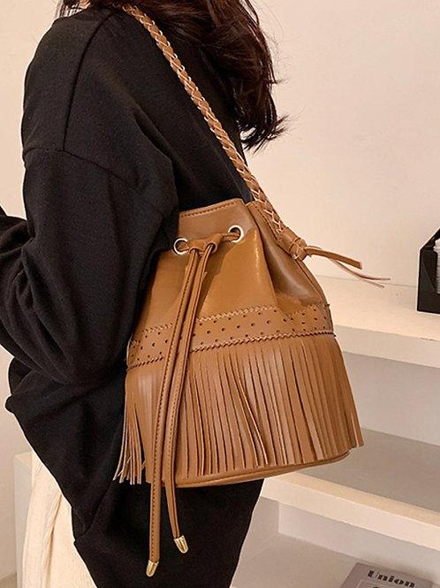 Tan Moccasin Bucket Bag