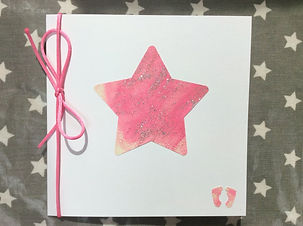 New Baby Girl Card - Large Star Pink - N