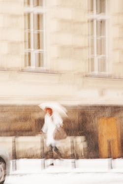 Redhead with White Umbrella