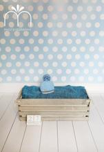 Blue Polkadot / White Wooden Floordrop