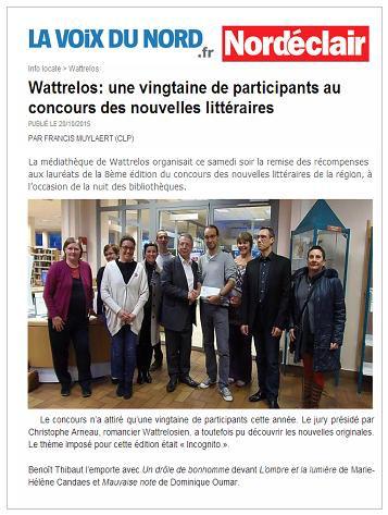 Christophe Arneau concours de nouvelles Wattrelos