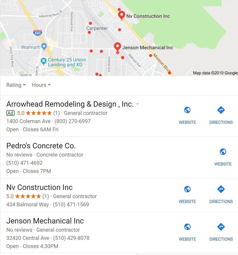 Finding a contractor using Google