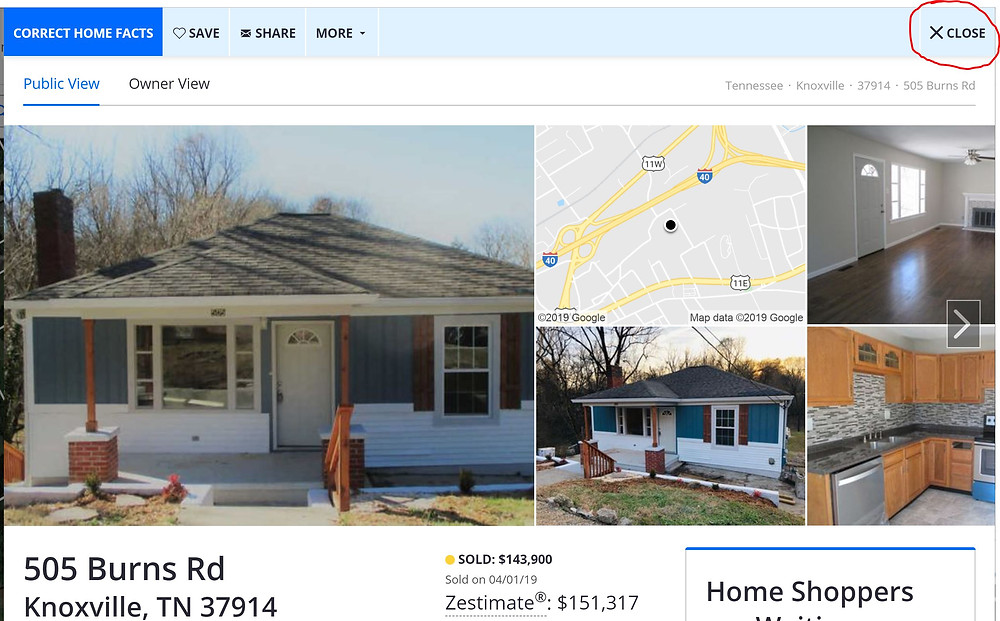Results from searching your home on Zillow