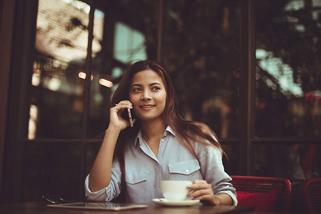 woman making a sales phone call