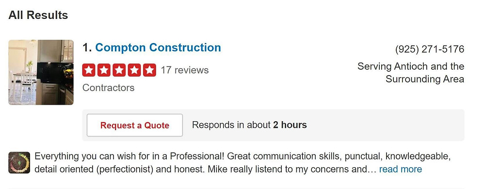 Yelp all results for contractors