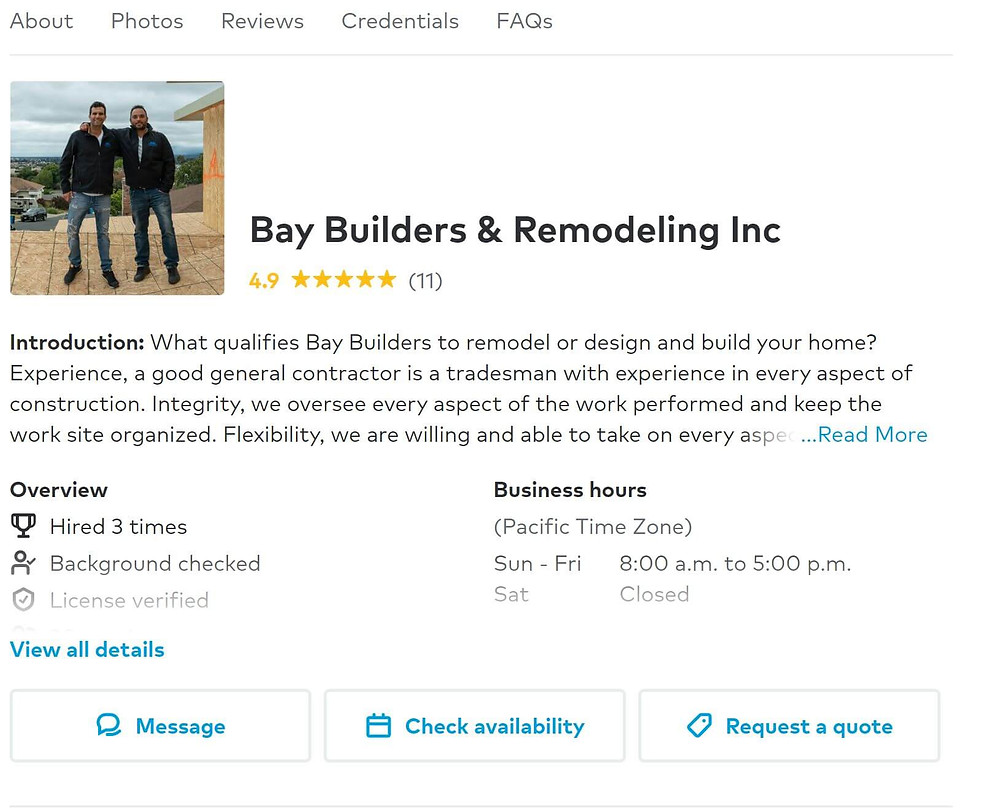 Contractor detail page on Thumbtack