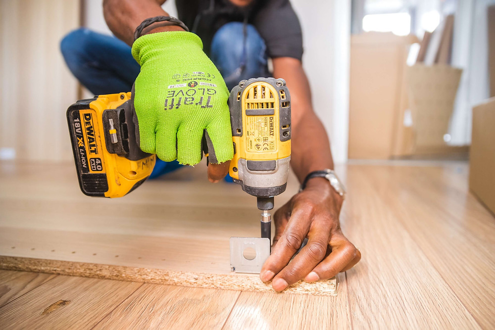 Contractor doing carpentry work for a home renovation