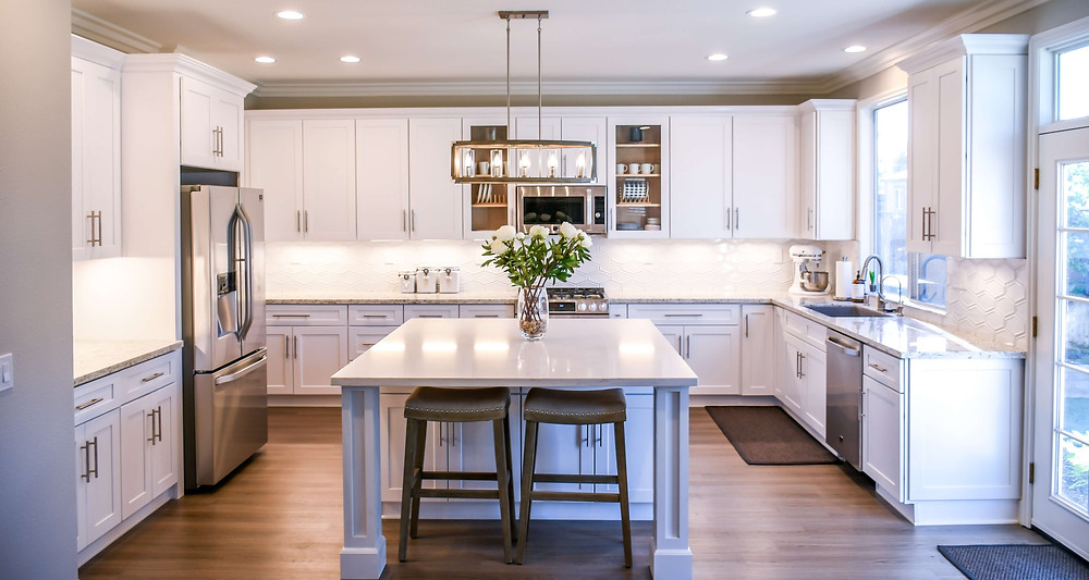 Kitchen staged for an open house