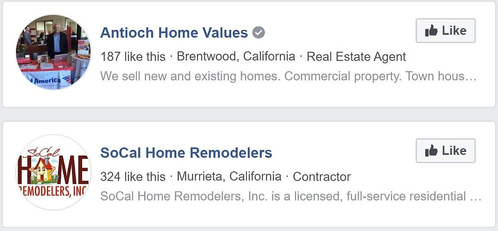 Search results for contractors on Facebook