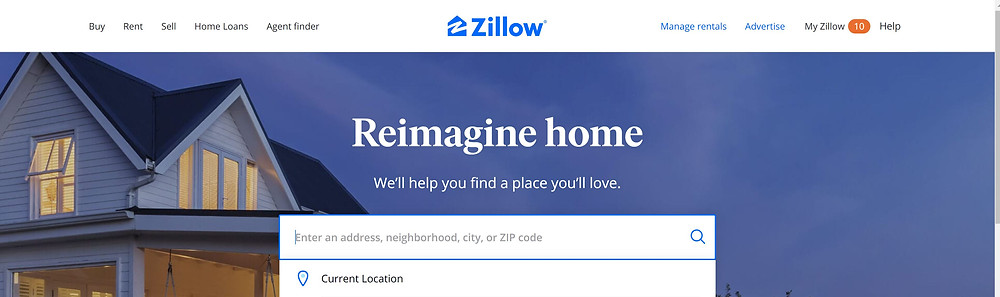 Zillow home page and search bar