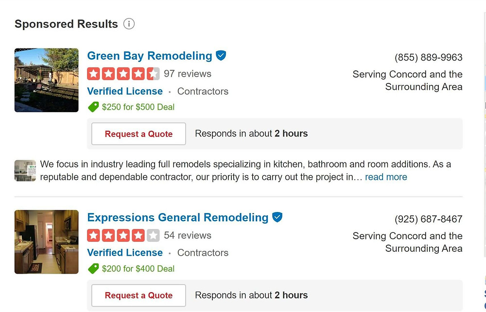 Yelp sponsored contractor search results